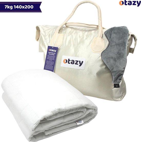 Otazy Verzwaringsdeken 7 Kg - 140 x 200 cm - Ecru - Organisch Katoen - Weighted blanket - Voor lichaamsgewicht tussen 60 en 75 kg. Mét draagtas en verzwaringsmasker!