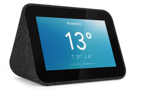 Lenovo Smart Clock - Smart Speaker met scherm / Google Assistent / Zwart