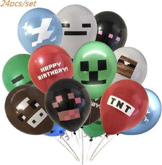 MINECRAFT LATEX 24 x  ballonnen 30 cm | party | feestje | verjaardag