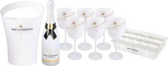 Moët & Chandon Ice Imperial Ice Bucket inclusief 6 Glazen - Luxe Wijnkoeler / IJsemmer en Champagneglas 6x