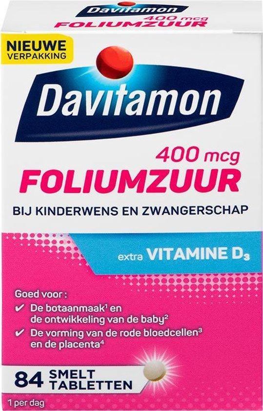 Davitamon Foliumzuur met Vitamine D - Voor -en tijdens zwangerschap - Voedingssupplement - 84 stuks