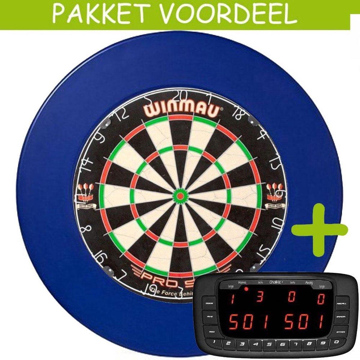 Elektronisch Dart Scorebord VoordeelPakket (Chalkie ) - Pro SFB - Rubberen Surround (Blauw)
