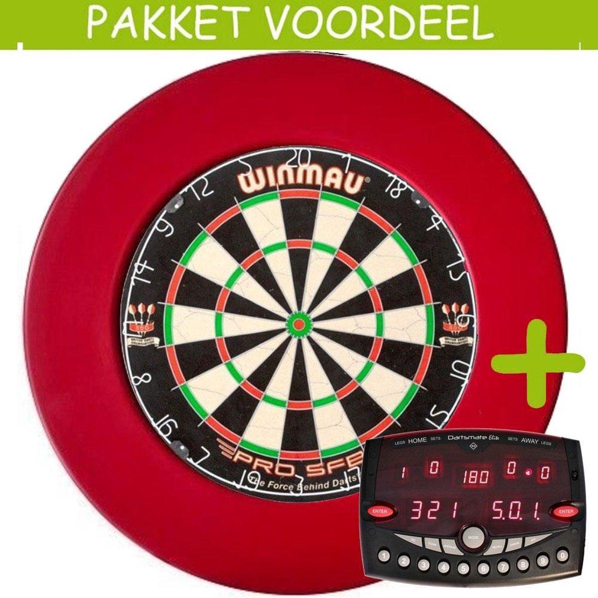 Elektronisch Dart Scorebord VoordeelPakket (Elite ) - Pro SFB - Rubberen Surround (Rood)