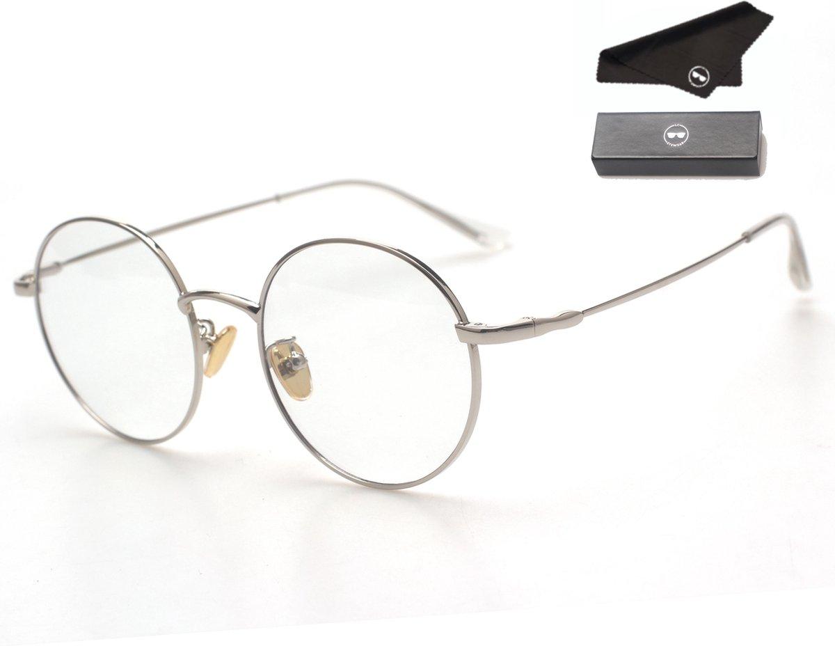 LC Eyewear Computerbril - Blauw Licht Bril - Blue Light Glasses - Metaal - Unisex - Zilver