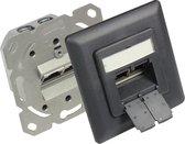 Good Connections Premium CAT6 Gigabit netwerk inbouw wandcontactdoos met afdekplaat en 2 RJ45 poorten - afgeschermd / antraciet