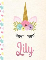 Lily: Personalized Unicorn Primary Handwriting Notebook For Girls With Pink Name - Dotted Midline Handwriting Practice Paper