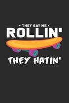 Rollin': 6x9 Skateboarding - dotgrid - dot grid paper - notebook - notes