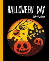 Halloween Day Jack-o'-Lantern: Pumpkin Cemetery Composition Notebook 8x10'' 110 Pages, Book Gifts Holidays & Celebrations For Men Women Kids