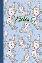 Notes: Unicorn Themed Journal with Lined Pages: Cute Unicorn Horse Girl with Magic Horn