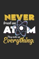 Never trust an atom: 6x9 Chemistry - dotgrid - dot grid paper - notebook - notes