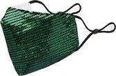 Glitter mondkapje wasbaar   groen   met katoen en pailletten  mondmasker   verstelbaar