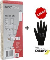 Set à 50 stuks AGERA schuurpapier stroken 93x230mm korrel 60-80-120-180