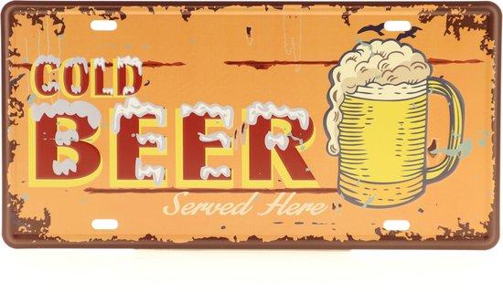 Wandbord – Mancave – Cold Beer bord – Vintage - Retro -  Wanddecoratie – Reclame bord – Restaurant – Kroeg - Bar – Cafe - Horeca – Metal Sign - Bier – Bier liefhebber - 15x30cm