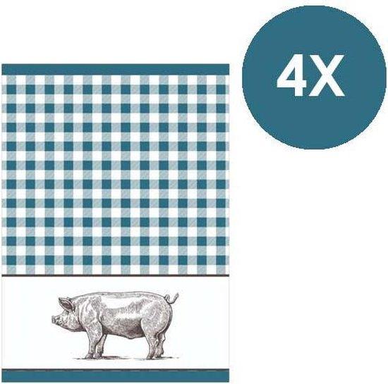 Clarysse - Keukenhanddoek - Pig blauw - 50 x 70 cm - 4 stuks