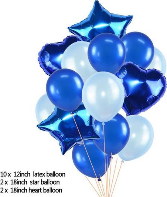 Ballonpakket 14 stuks Folieballonnen en Latexballonnen in Blauw (31248)