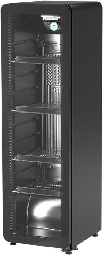 Koelkast: Gastro-Cool GD135 - Retro Slimline koelkast met glazen deur 135 Liter - Zwart/Zwart/Zwart 259100, van het merk Gastro-Cool