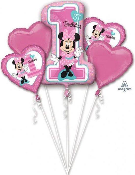 Minnie Mouse Helium Ballonnen 1 jaar set 5 delig