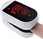 Strongy - Zuurstofmeter en Harstlagmeter Vinger - Saturatiemeter - Oximeter - Wit en Trendy Design met Hangkoord incl. Batterijen