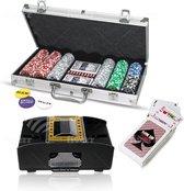 PRO® Pokerset 300 inclusief automatische kaartschudmachine| Inclusief koffer|Poker Chips|Speelkaarten|Black Jack