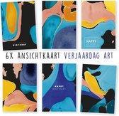 Kimago.nl - wenskaarten - kaartenset - ansichtkaarten - Verjaardag - art - kunst - 6 stuks