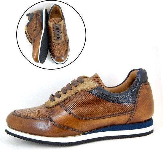 Stravers - Maat 38 Sneakers Heren Bruine Luxe Nette Sneakers Kleine Maten