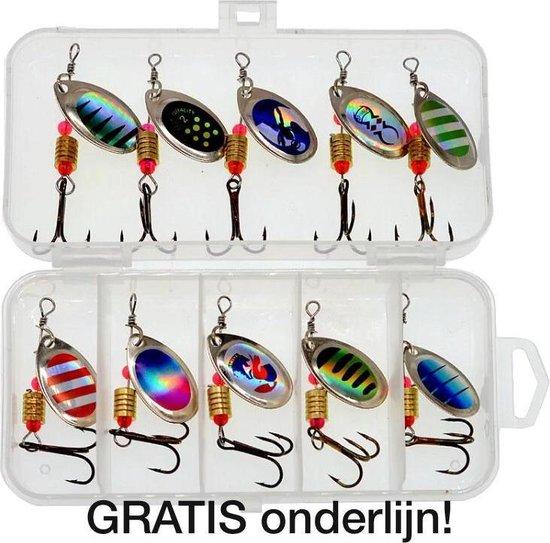 Kunstaas set 2 | Kunstaas set voor roofvis - incl GRATIS onderlijn - pluggen met haak - perfect voor snoek / baars / forel- set van 10 spinners