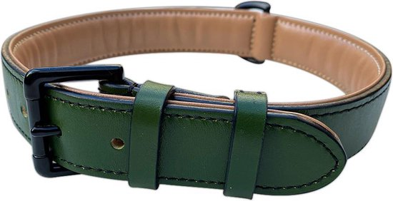 Brute Strength - Luxe leren halsband hond - Donker groen - M - 51 x 2,5 cm - leren hals band