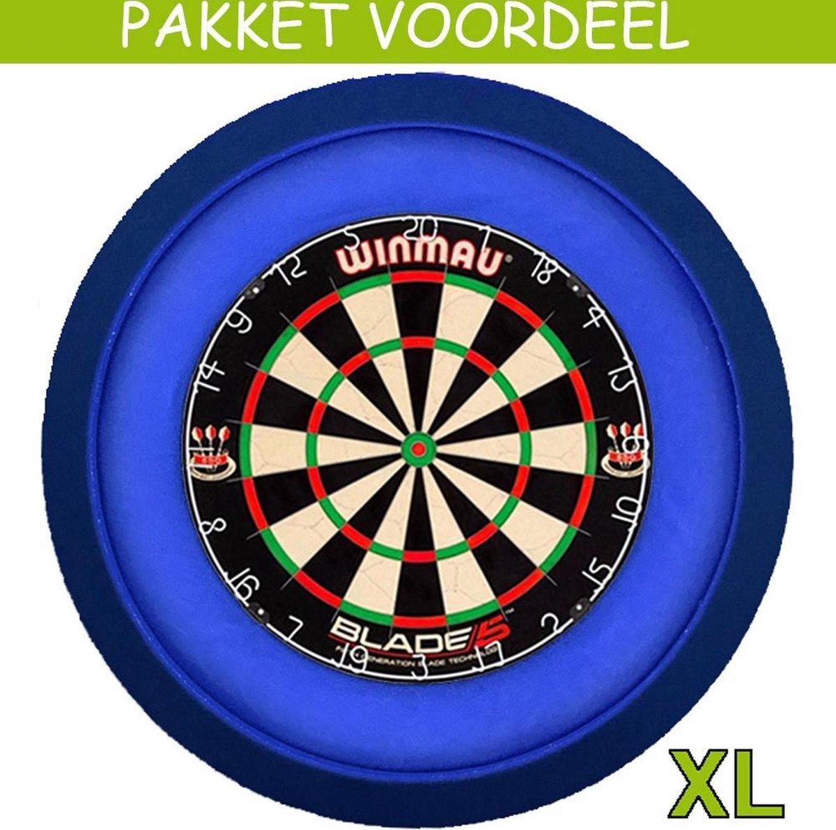 Dartbord Verlichting Voordeelpakket Super Deluxe + Blade 5 + Dartbordverlichting Deluxe XL(Blauw)
