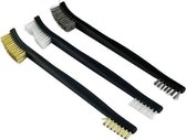 Premium Staalborstel Set 3 stuks | RVS | Messing | Nylon | Metaal | 17 cm | BBQ Borstel | Roestborstel | Messingborstel | Verf Verwijderen | Polijsten