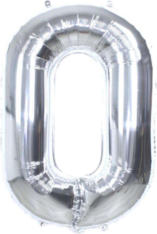 Folie Ballon Cijfer 0 Jaar Zilver 36Cm Verjaardag Folieballon Met Rietje