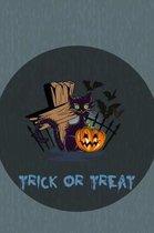 Trick Or Treat: Cute Cemetery Cat, Pumpkin And Bats Halloween Notebook