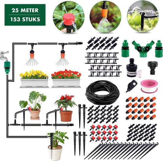 RX Goods® 153 Stuks Water Druppelslang Irrigatiesysteem Tuin – Bewateringssysteem & Druppelsysteem
