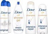 Dove Shower & Care Set - Deodorant antitranspirant. Douchegel. Shampoo en Conditioner - Voordeelverpakking