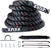 ZEUZ® 9 Meter Battle Rope inclusief Bevestigingsmateriaal – Training Touw – Fitness & Crossfit – Thuis trainen