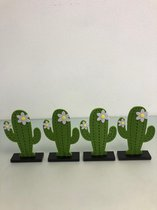 Decoratieve cactusbeelden van hout en stof - set van 4 stuks (diverse kleuren)