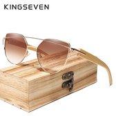 Kingseven Bamboo | handgemaakte hoog kwaliteit houten pootjes | Cat Eye vorm | origineel kingseven houtendoosje | Bruin/Goud montuur