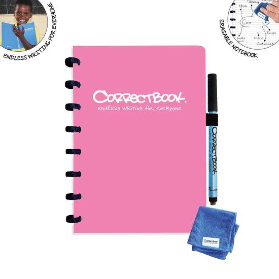 Whiteboard notitieblok / schrift - Correctbook - A5 - Gelijnd - Roze