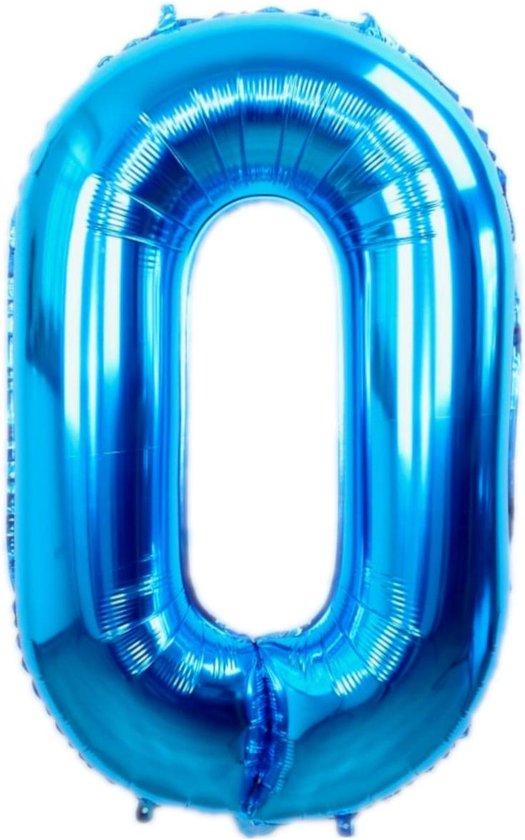 Folie Ballon Cijfer 0 Jaar Blauw 36Cm Verjaardag Folieballon Met Rietje