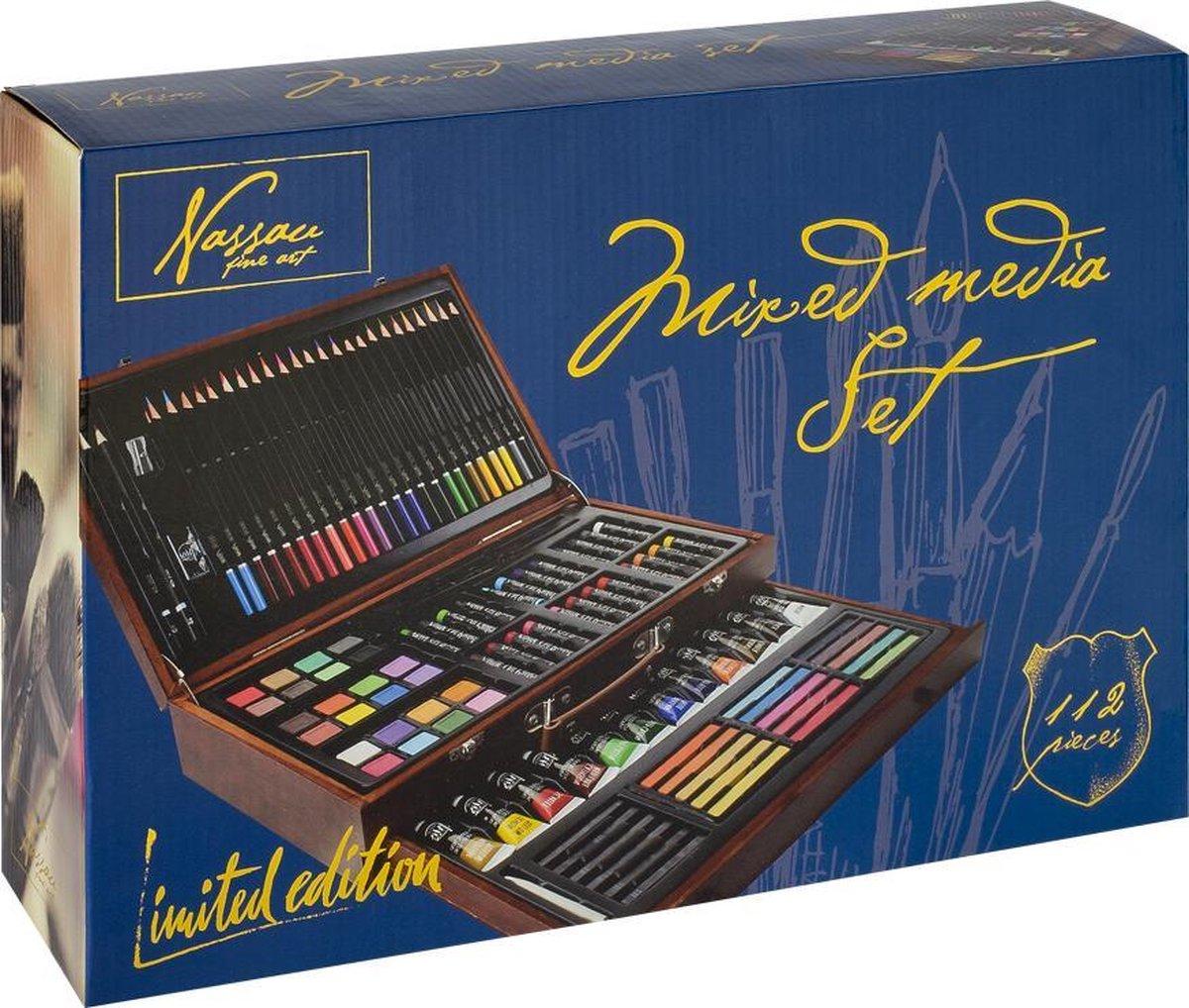Nassau Fine Art tekendoos | 112-delig | Mixed media set | Kleuren - kleurpotloden - oliepastel - aquarelverf - acrylverf - pastel - grafietpotloden | Cadeau voor de feestdagen kopen