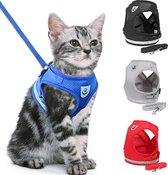 Kattentuigje -Verstelbaar  Kattenharnas - Kattentuig Met Looplijn -Harnas- Blauw- Maat M