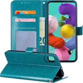Samsung Galaxy A51 Hoesje Book Case Hoes Wallet Cover - Turquoise