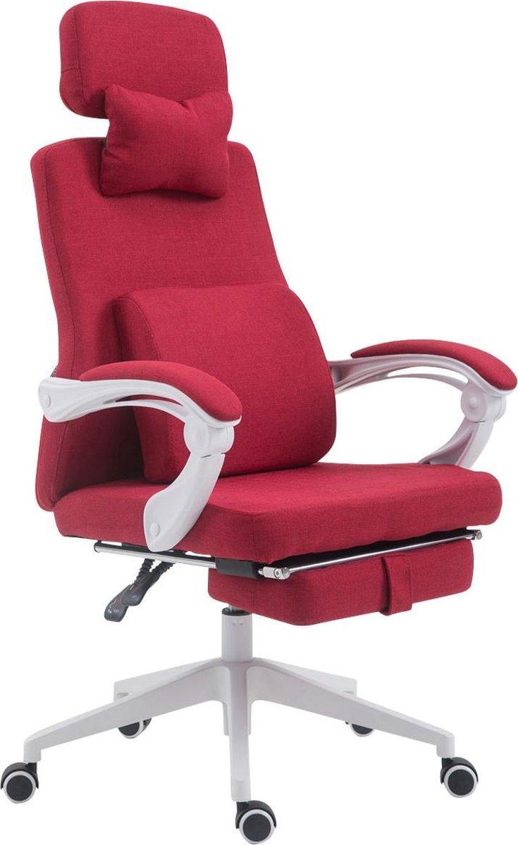 Bureaustoel - Bureaustoelen voor volwassenen - Hoofdkussen - Voetensteun - Verstelbaar - Stof - Rood - 62x63x137 cm