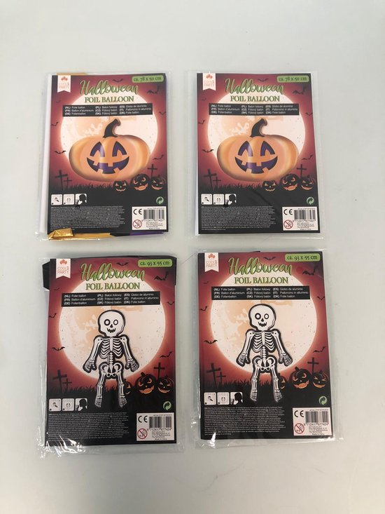 halloween folie ballon - set van 4 stuks (pompoen/skelet)