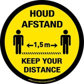 Tweetalig - rond - 200 mm -  Keep your distance - houd afstand - antislip - COVID-19 - Corona - sticker - 20 cm -  vloersticker