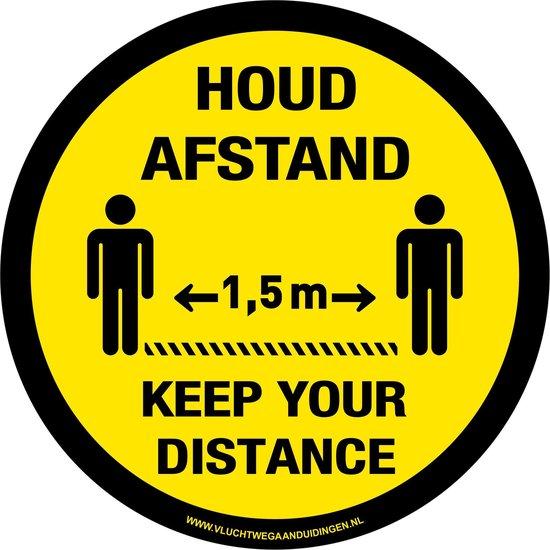 Tweetalig - rond - 200 mm -  Keep your distance - houd afstand - antislip - COVID-19 - Corona - sticker - 20 cm -  vloersticker