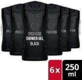 Axe Black For Men Douchegel - 6 x 250 ml - Voordeelverpakking