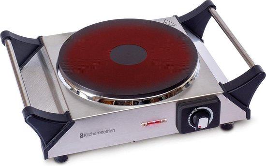 KitchenBrothers Elektrische Kookplaat - 1 Pits Enkele Kookplaat - 1500W - Vrijstaand - Zilver/RVS
