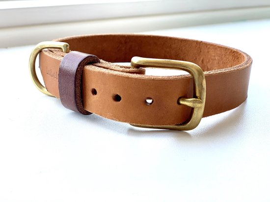 Leren halsband hond - handgemaakt - bruin - 32,5 cm tot 38,5 cm