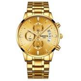 NIBOSI Horloges voor mannen - Horloge mannen – Luxe goud op goud Design - Heren horloge - Ø 42 mm – Goud  - Roestvrij Staal - Waterdicht tot 3 bar - Chronograaf - Geschenkset met verstelbare pin