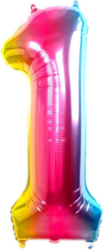 Folie Ballon Cijfer 1 Jaar Regenboog 86Cm Verjaardag Folieballon Met Rietje